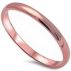 Jewelry - Sterling Silver 925 2MM Rose Gold Wedding Ring